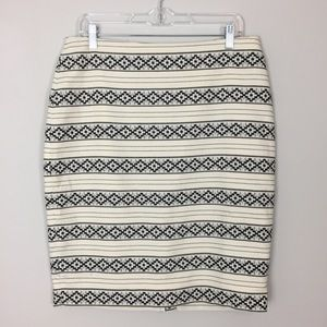 Ann Taylor • Cream & Black Embroidered Skirt